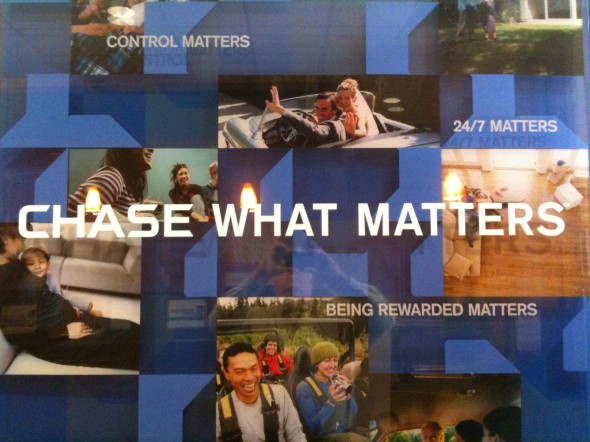 "Chase Bank ad: Happy people and ""Chase What Matters"" slogan."