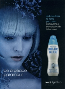 Neuro Bliss smart drink ad: Girl and bottle.