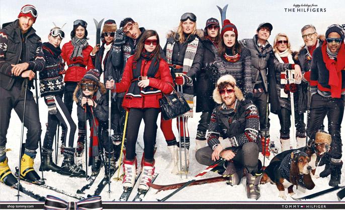 Tommy Hilfiger ad: Family on ski trip.