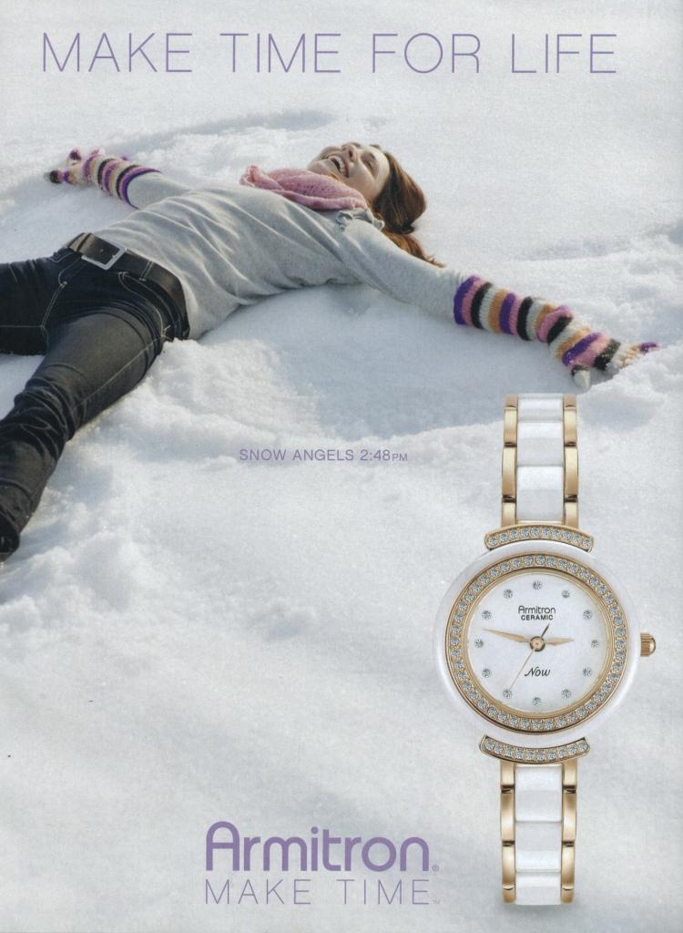 Armitron watch ad: Girl makes snow angels.
