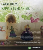 Ameritrade retirement ad: Little girl wants to live happily ever after.