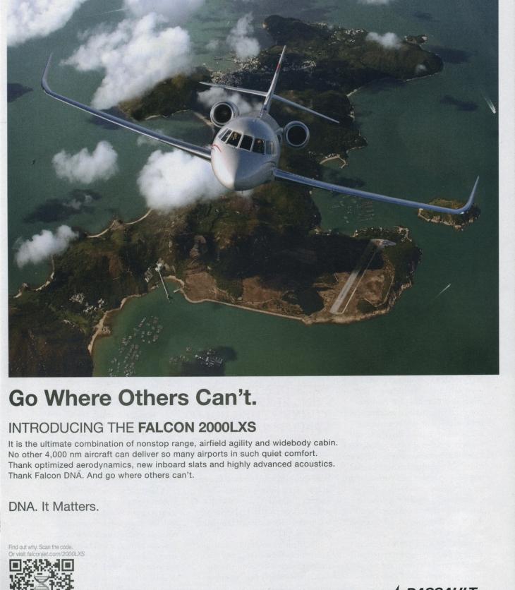 Dassault Falcon jet ad: Plane flies above exotic island.