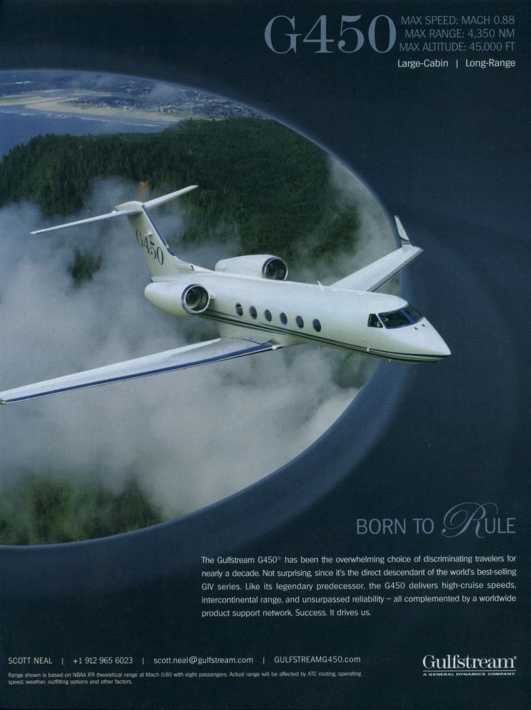 Gulfstream Jet ad: plane flies over the world.