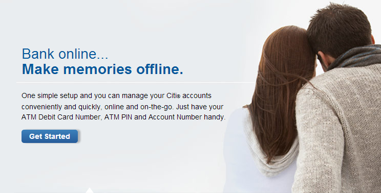 """Citibank ad: A couple lean together, making memories """"offline."""""""