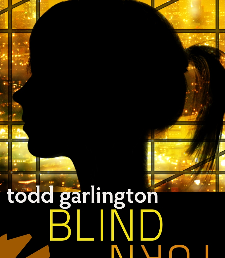 Blind Turn book cover: Female silhouette over Los Angeles.