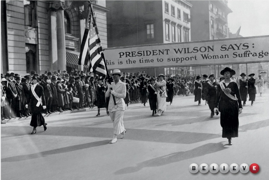 Powerball Lottery ad: Rally for woman's suffrage.
