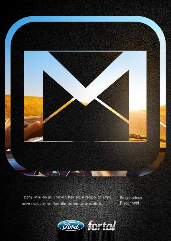 Disconnect ad: Driving with Gmail logo on windshield.