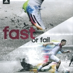 Adizero F50 Adidas ad: Lionel Messi leaves a defender in the dust.