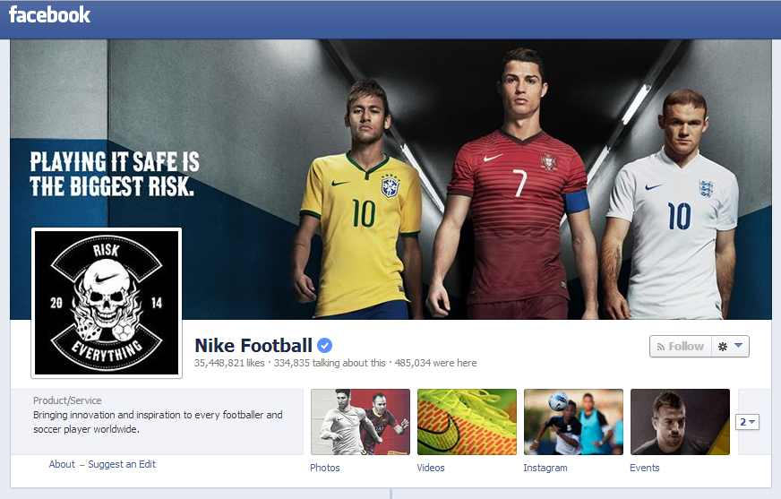 Nike Soccer Facebook page for the World Cup: Ronaldo, Neymar, Rooney.