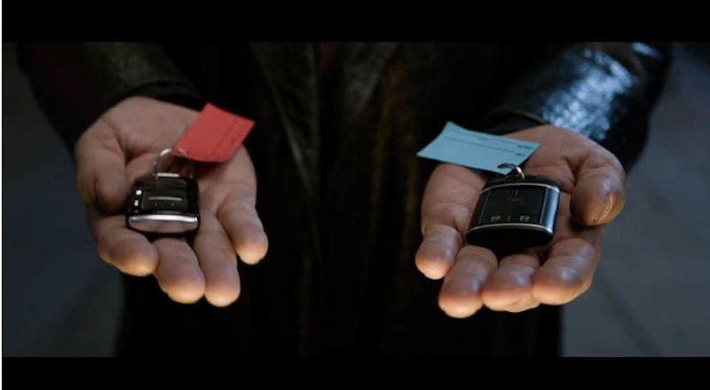 """Kia Commercial: Morpheus from The Matrix asks """"Blue key or red key?"""""""