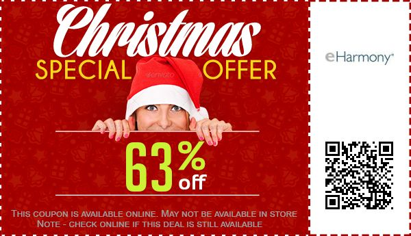 eHarmony coupon: 63% off (picture of woman in Santa cap).