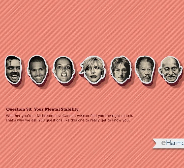 eHarmony ad: cutouts of famous faces.