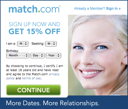 Match.com coupon: 15% off (picture of blonde woman).