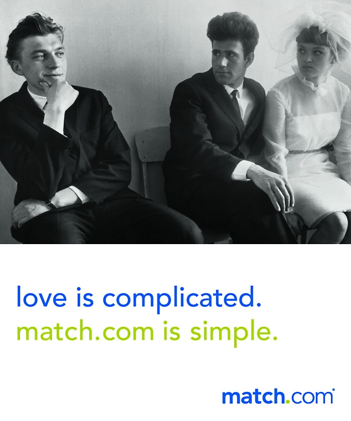 Match.com ad: Love is complicated (picture of bride, groom, and rascal).