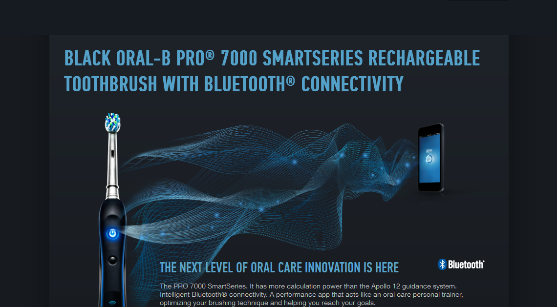 Oral-B Smart Series 7000 Ad: Toothbrush and cell phone connect via Bluetooth.