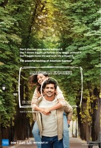 Guy giving girl a piggyback becomes the face of an American Express card.