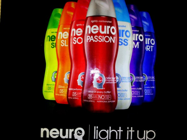 """Neuro smart drink product line with """"Light It Up"""" slogan."""