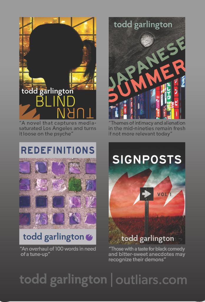 Outliars.com flier (back): Todd Garlington book covers.