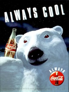 """Coca-Cola """"Always Cool"""" print ad from 1993: Polar Bear holds a bottle of Coke."""