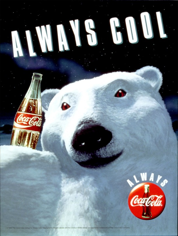 "Coca-Cola ""Always Cool"" print ad from 1993: Polar Bear holds a bottle of Coke."
