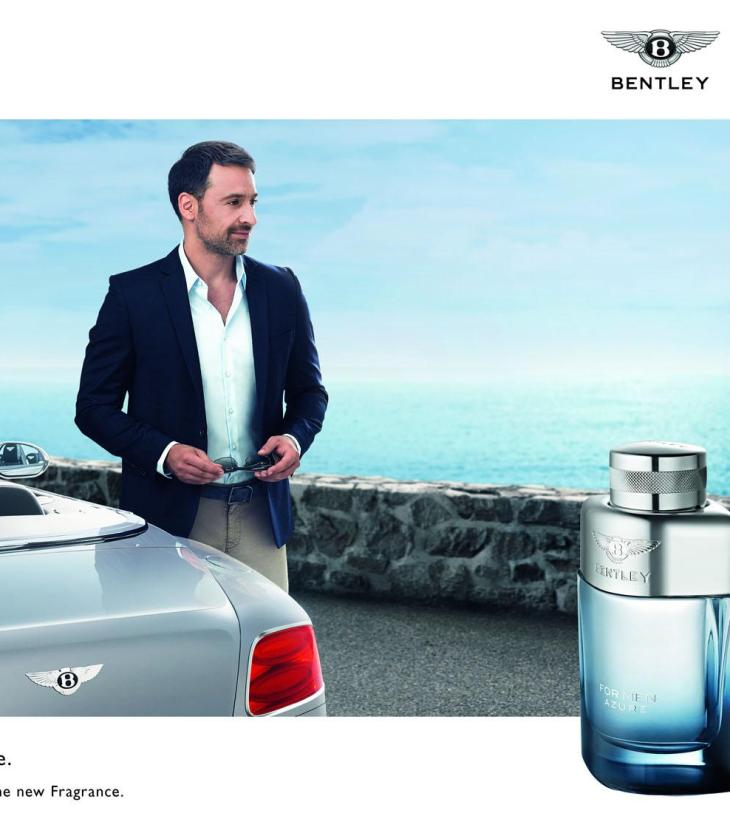 Bentley Azure cologne ad: Handsome gent stands beside a Bentley convertible.